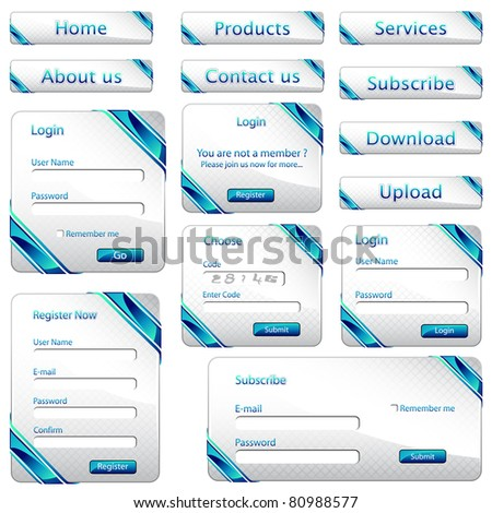 illustration of set of web form template in gift card style - stock vector