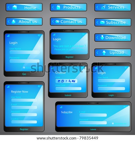 illustration of set of web form template in mobile - stock vector