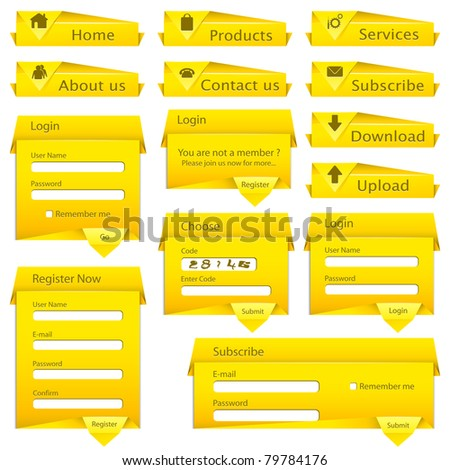 illustration of set of web form template in origami style - stock vector