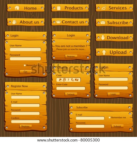 illustration of set of web form template in wooden style - stock vector