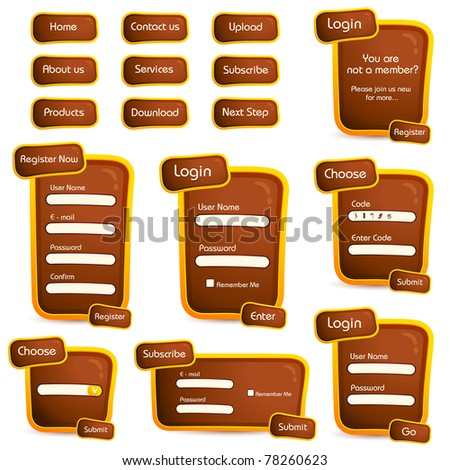 illustration of set of web form templates in trendy look on isolated background - stock vector