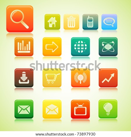 illustration of set of web icon - stock vector