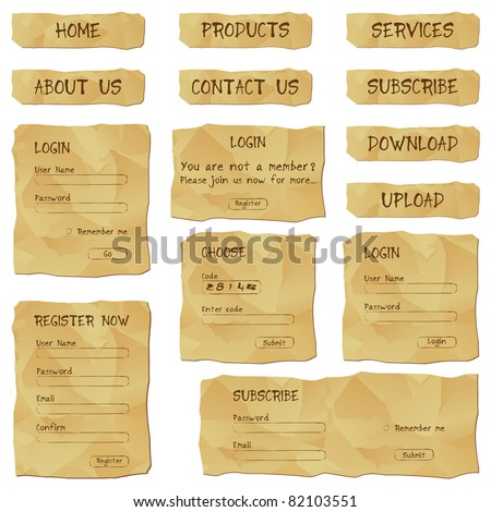 illustration of set of web template form made of antique paper - stock vector