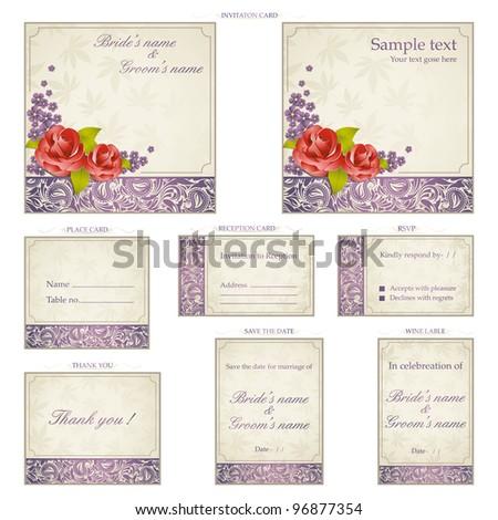 Illustration set wedding reception invitation card stock vector illustration of set of wedding reception invitation card in vintage style stopboris Choice Image