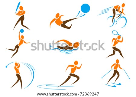 illustration of set on sports icon on white background - stock vector