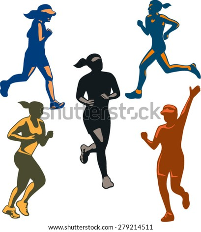 Illustration of set or collection of female marathon triathlete runner running winning finishing race on isolated background done in retro style. - stock vector