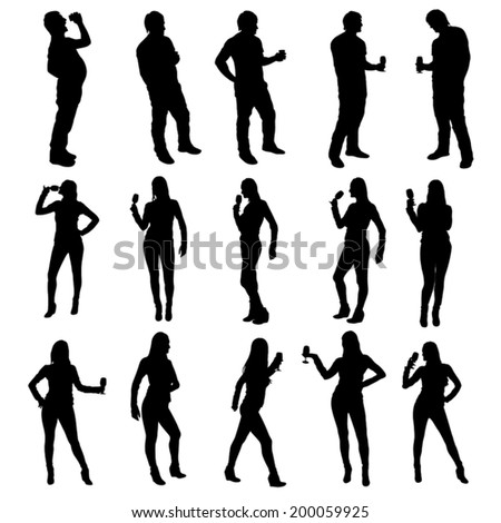 illustration of set silhouette man and womans in party - stock vector