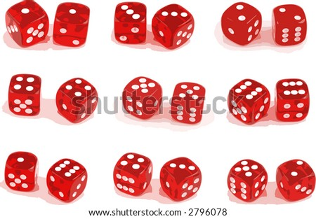 Illustration of 9 sets of dice - stock vector