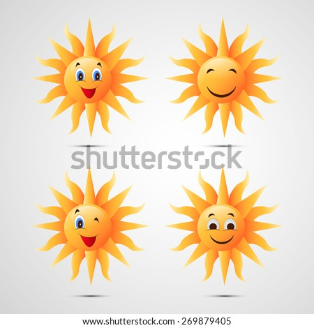 Illustration of Sets of Sun for Summer - stock vector