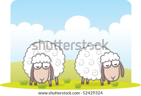 Illustration of sheep eating grass - stock vector