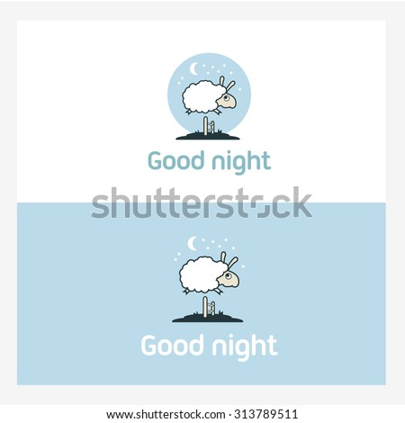 Illustration of Sheep jumping over the fence. Logo elements concept. - stock vector