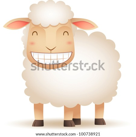 Illustration of Sheep smiling - stock vector