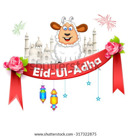 illustration of sheep wishing Eid ul Adha (Happy Bakra Id) - stock vector