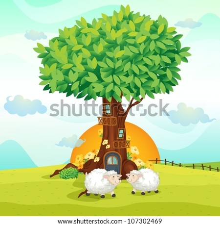 illustration of sheeps under a tree house - stock vector