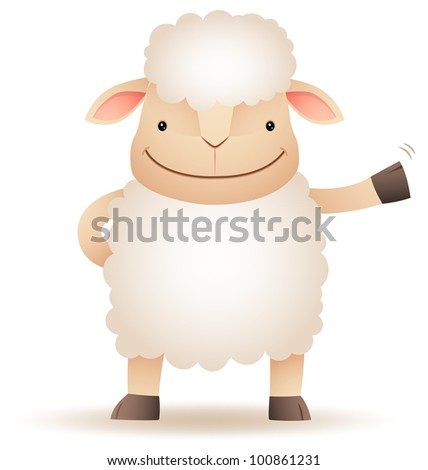 Illustration of Shepy the sheep smile and waving hand - stock vector