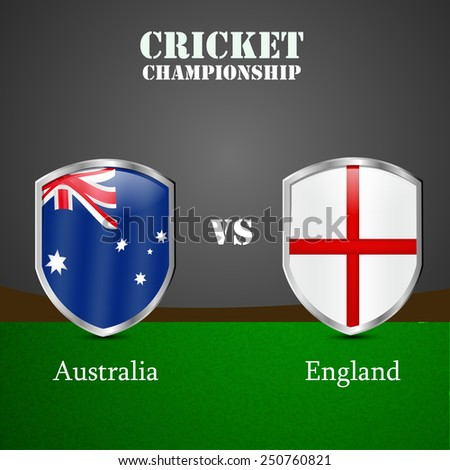 Illustration of Shield with Australia Flag and England Flag for Cricket background - stock vector