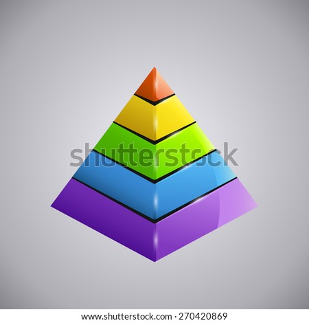 illustration of shiny business colored diagram pyramid  - stock vector