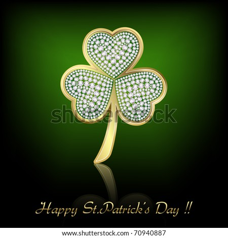 illustration of shiny clover leaf of saint patrick's day with diamonds - stock vector