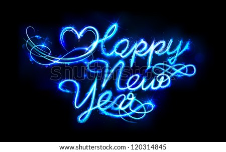 illustration of shiny Happy New Year on abstract background - stock vector