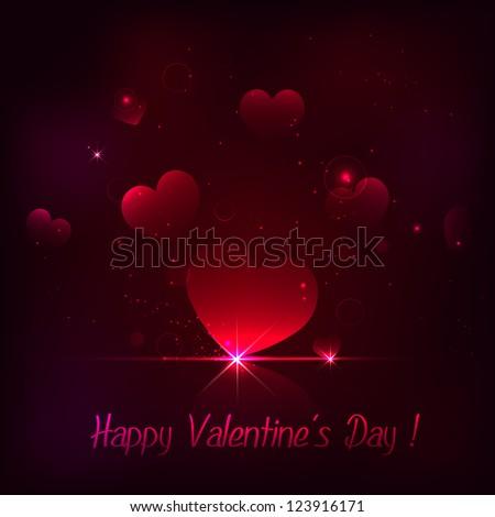 illustration of shiny heart on love background - stock vector