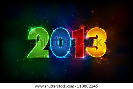 illustration of shiny 2013 in happy new year background - stock vector