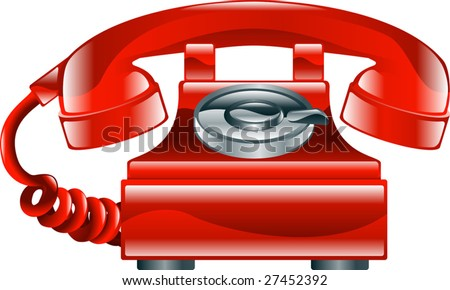 Illustration of shiny red old fashioned landline phone icon.