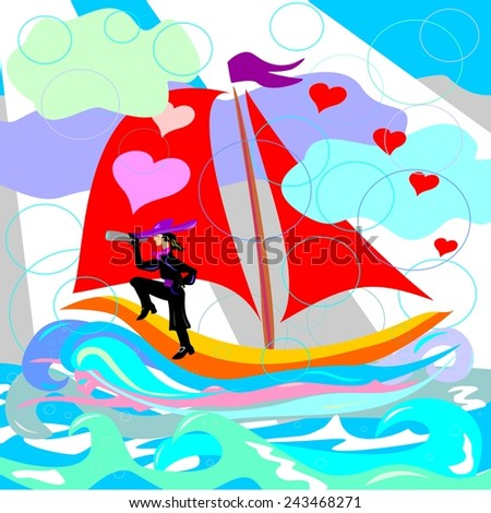 Illustration of ship with red sails, sea, captain, mermaid  - stock vector