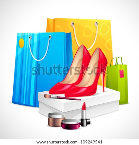 illustration of shoe and cosmetics with shopping bag showing sale - stock vector