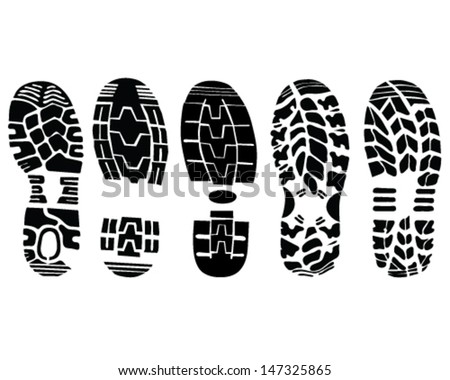 Illustration of shoe prints-vector - stock vector