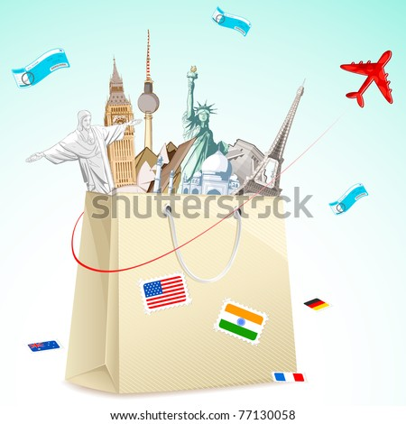 illustration of shopping bag full of famous monument with air ticket and airplane flying - stock vector