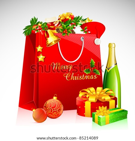 illustration of shopping bag with christmas goodies with champagne bottle - stock vector