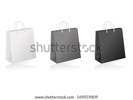 Illustration of shopping bags collection in white, black and grey colours - stock vector
