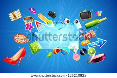 illustration of shopping object coming out of credit card - stock vector