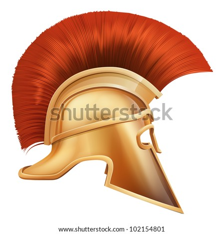 Illustration of side on Spartan helmet or Trojan helmet also called a Corinthian helmet. Versions also used by the Romans. - stock vector