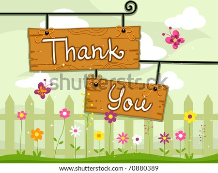Illustration of Signboards with the Words Thank You Written on Them - stock vector