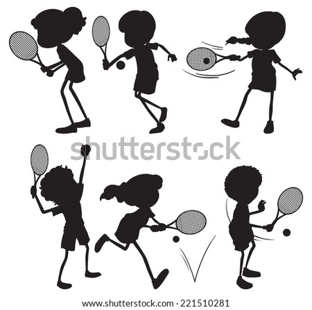 Illustration of silhouete of people playing tennis - stock vector