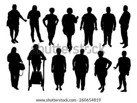 illustration of silhouette fat people - stock vector