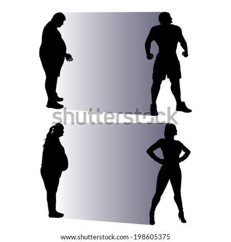 illustration of silhouette fat people becoming slim - stock vector