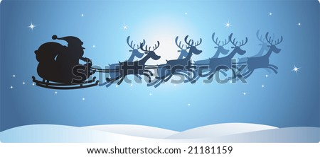Illustration of Silhouette Flying Santa and Christmas Reindeer - stock vector