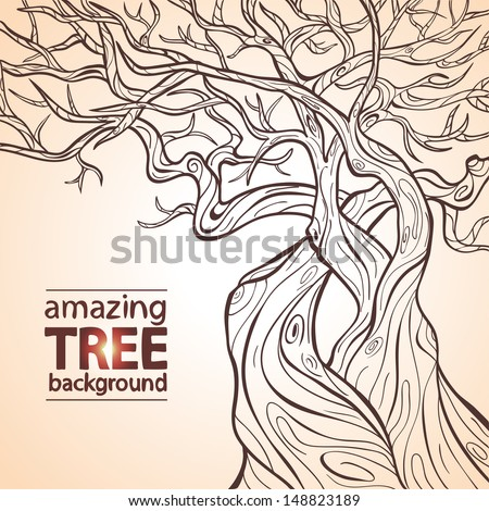 Illustration of silhouette of a huge and beautiful tree - stock vector
