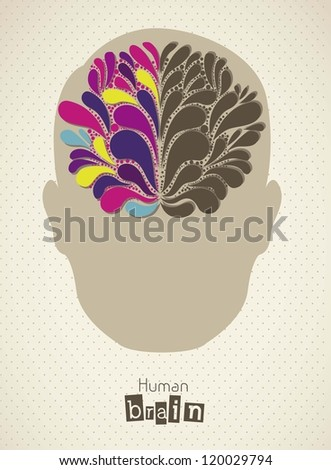 Illustration of silhouette of man with brain, vector illustration