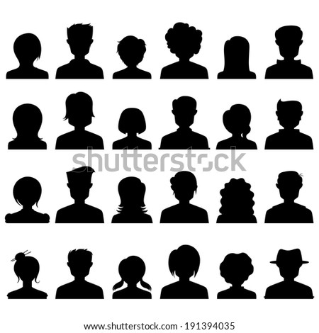 illustration of silhouette style people icon - stock vector
