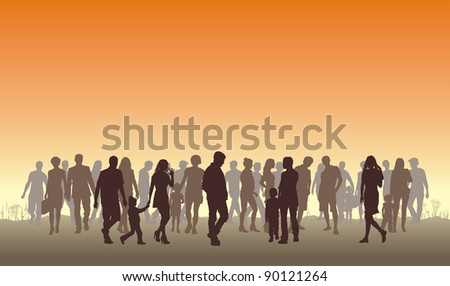 Illustration of silhouettes of people in the top horizon