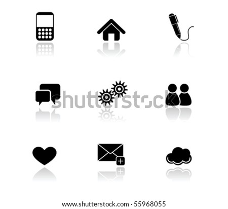 Illustration of Simple Black Icons - Internet series - stock vector