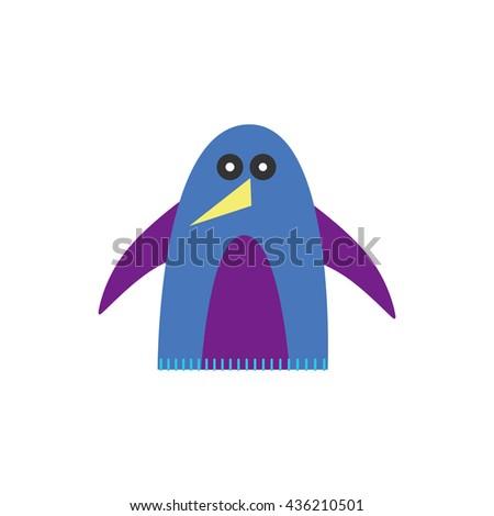 Illustration of simple penguin sew figure on white background - stock vector