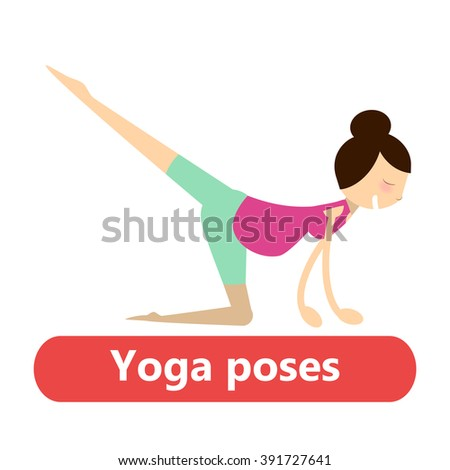 illustration of simple yoga poses for pregnant woman for sport activity and relax - stock vector