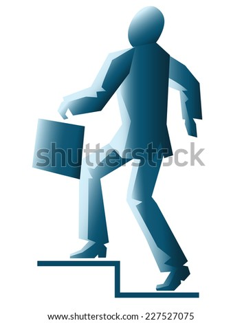 illustration of simplified businessman walking up stairs isolated on white - stock vector