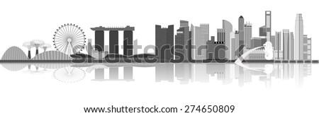 illustration of Singapore city skyline view at Marina Bay - stock vector