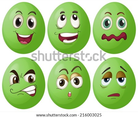 Illustration of six green eggs with expressions - stock vector