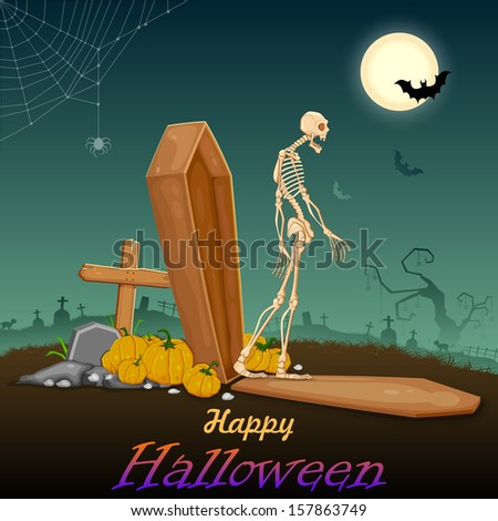 illustration of skelton coming out of coffin in Halloween night - stock vector